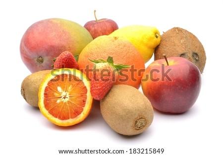 Various fruits on white background - stock photo