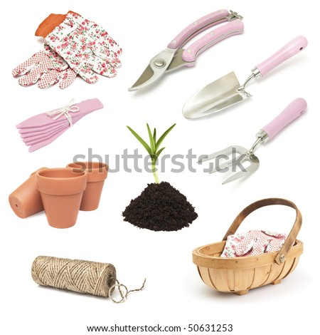 Various gardening implement for spring planting on white background - stock photo