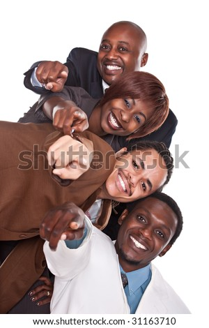 various gender and race business people, pointing fingers - stock photo