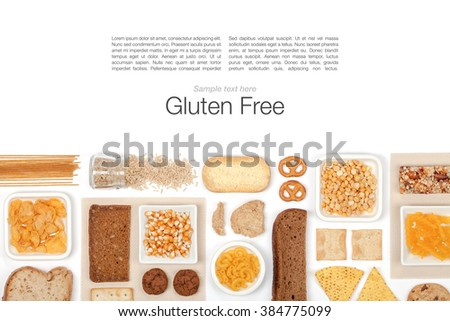 various gluten free grains and food on white background with copy space top view - stock photo