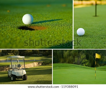 Various golf image collage of white golf ball on putting green next to hole, golf cart and flag - stock photo