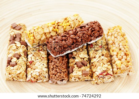 various granola bars - diet and breakfast - stock photo