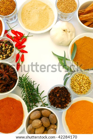 various ground and whole  spice on white background - stock photo