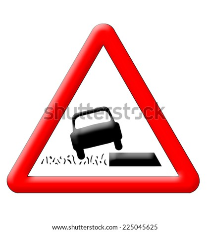 Various ground warning traffic sign isolated over white background - stock photo