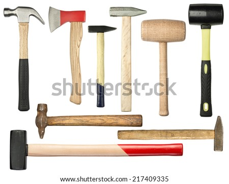 Various hammers and ax isolated on white - stock photo