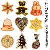 Various handmade decorated Christmas cookies, isolated on white - stock photo