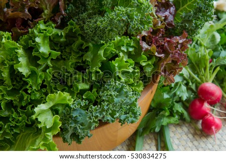 Various healthy greens and vegetables