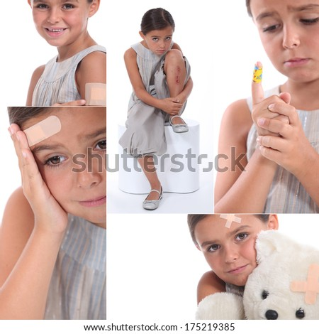 Various images of a girl wearing plasters - stock photo
