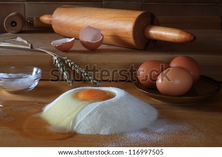 Various ingredients  mainly for pastry preparing - stock photo