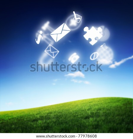 Various items of business on the skyline. Symbol of the electron cloud and high technology. - stock photo
