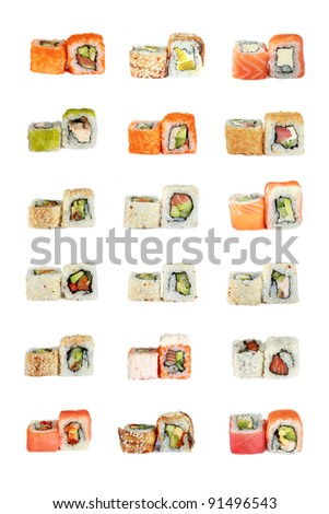 various Japanese sushi rolls, over white background