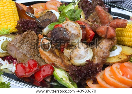 Various kind of grilled meat mexican style