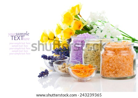 various kinds of bath salt with flowers, isolated on white background - stock photo