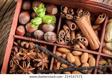 Various kinds of ingredients and nuts for chocolate - stock photo