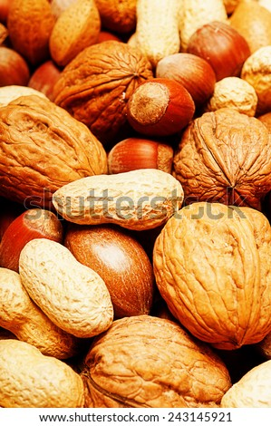 various kinds of nuts like background with soft blur affect - stock photo
