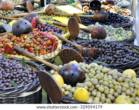 Various kinds of Olives at a French Market - stock photo