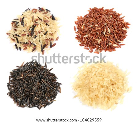 Various kinds of rice on white background - stock photo
