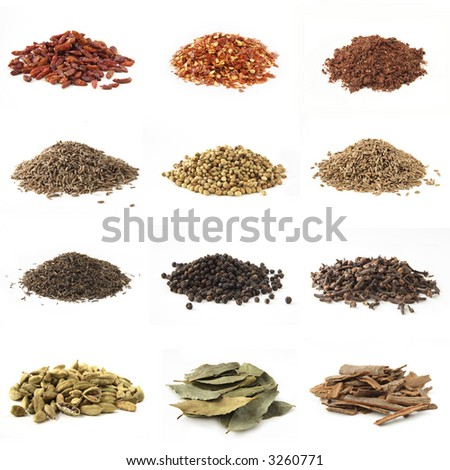 Various kinds of spices - bird eye chili pepper, crushed chili pepper, pomegranate powder cumin, white coriander,dill seeds,black cumin, whole black pepper, whole cloves, cardamon,bye leaves,cinnamon - stock photo
