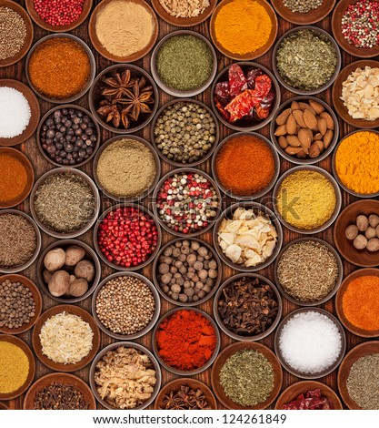 Various kinds of spices on wooden background - stock photo