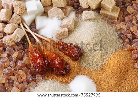 Various kinds of sugar close up - stock photo