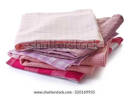 Various kitchen towels isolated on white background