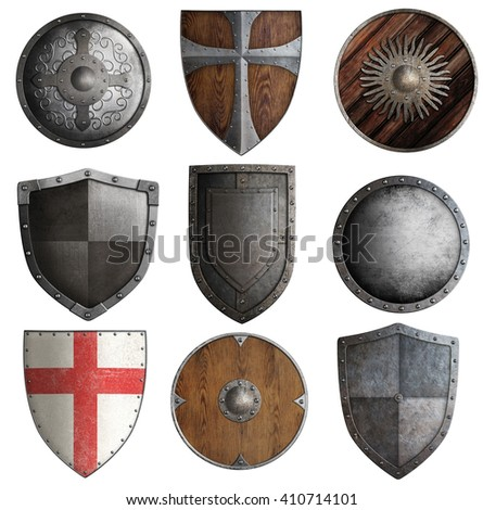 various knight shields set isolated 3d illustration