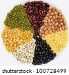 Various Legumes on white background - stock photo
