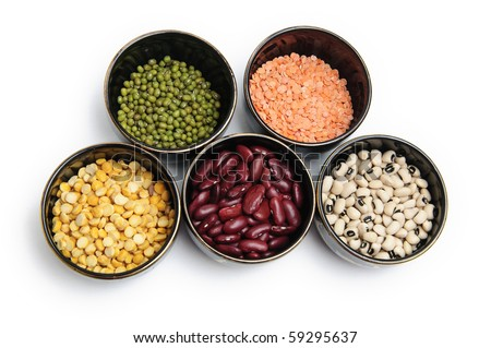 Various Lentils and Pulses on a White Background - stock photo