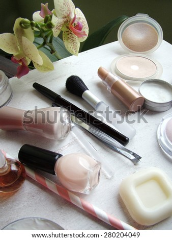 Various makeup products - stock photo