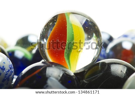various marbles close up on the white - stock photo