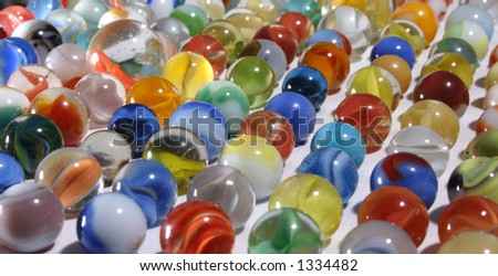 Various marbles lined up