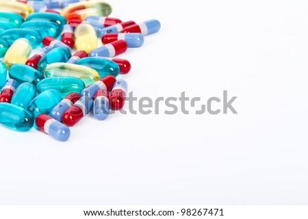 Various medical prescription pills on white background - stock photo
