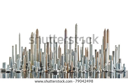 various metal bolts and screws isolated