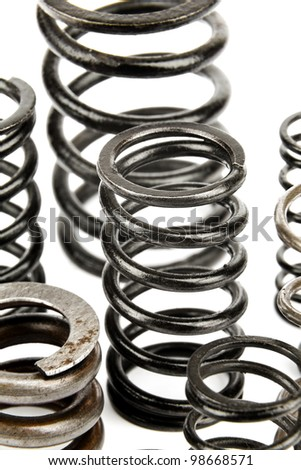various metal springs are used in automotive - stock photo