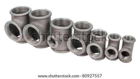 various metal tee fittings with inner thread, for pipes