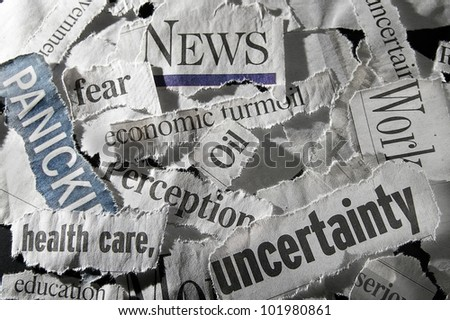 various newspaper headlines showing economic concepts - stock photo