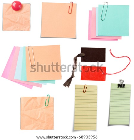 Various note paper isolated in white background - stock photo