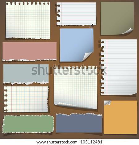 Various notes paper. Raster version - stock photo