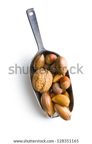 various nuts in scoop on white background - stock photo