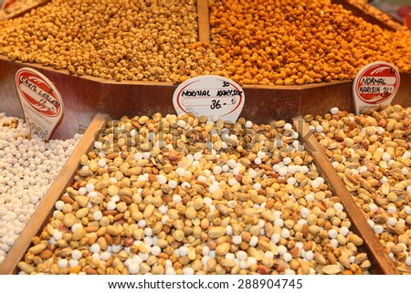 Various Nuts on Bazaar in Istanbul
