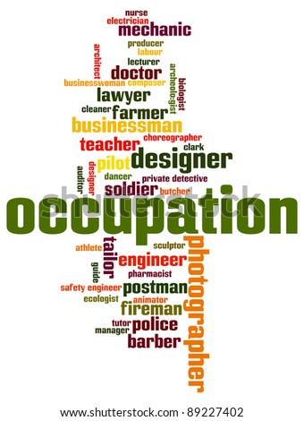various occupation  info-text graphics and arrangement concept on white background (word clouds) - stock photo