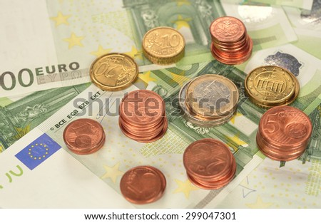 Various of coins and banknotes top view