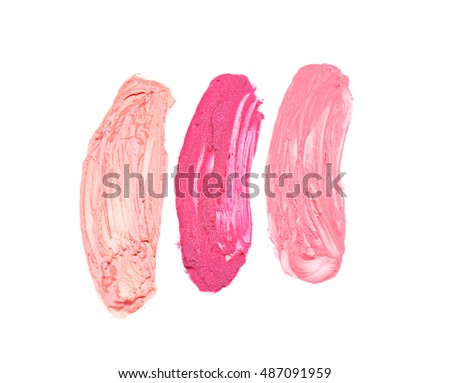 Various of cosmetic strokes isolated on white
