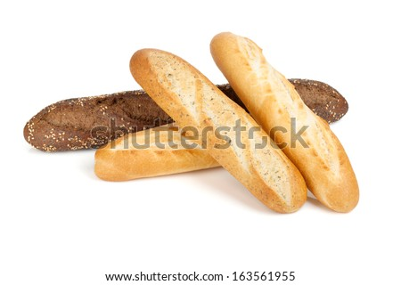 Various of french baguette. Isolated on white background - stock photo