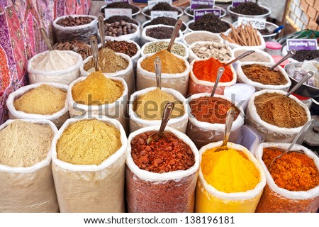 Various of Indian colored powder spices at Anjuna flea market in Goa, India