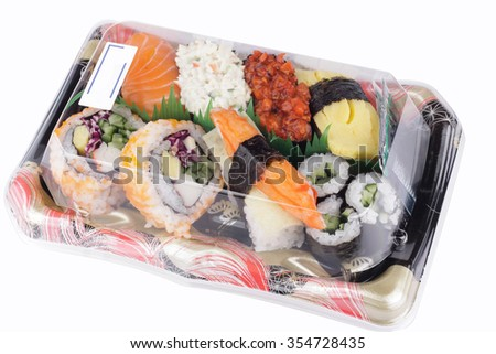 Various of shushi packed in a box ready to eat