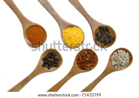 Various of spices in wooden spoon isolated over white