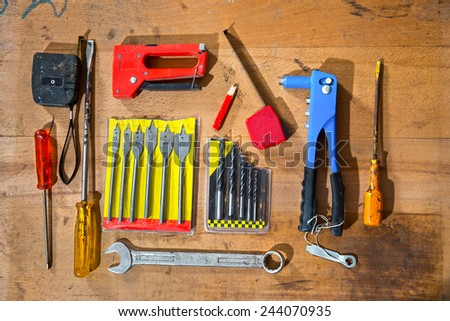 Various old craftsman tools - stock photo