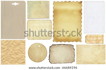 various old paper textures set, isolated on white background.