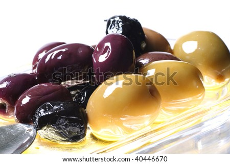 various olives isolated on white